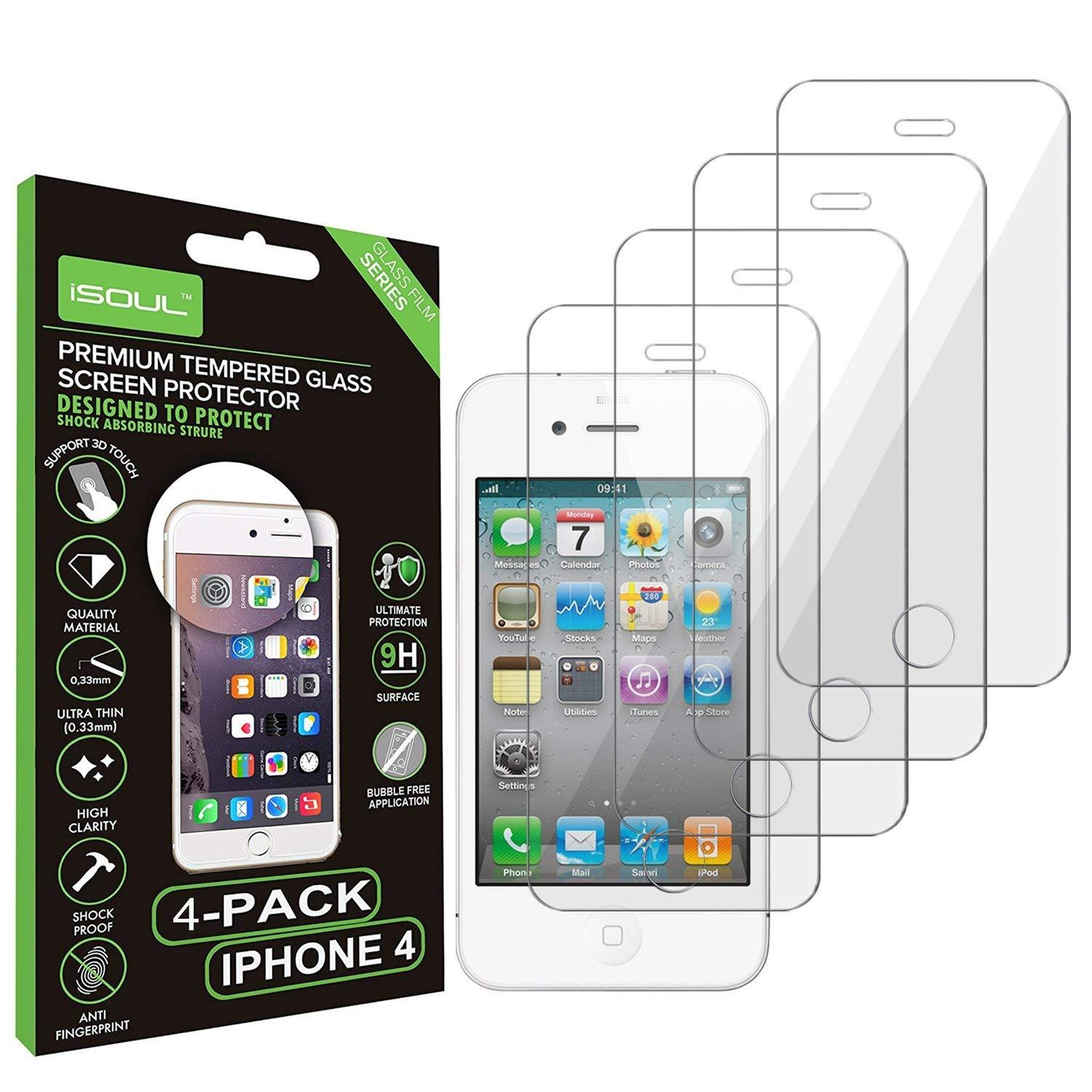 iSOUL Premium Tempered Glass iPhone 4/4S Screen Protector 9H Hard Ultra Slim 0.26mm Thin Pack of 4 by  iSOUL