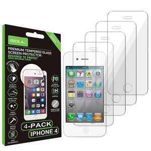 iSOUL Premium Tempered Glass iPhone 4/4S Screen Protector 9H Hard Ultra Slim 0.26mm Thin Pack of 4 - TradeNRG UK