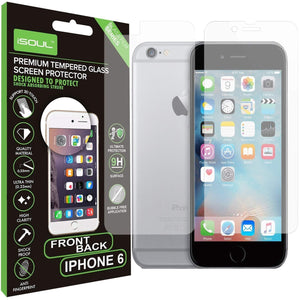 "iSOUL iPhone 6 6s Front Back Tempered Glass Film Screen Protector for iPhone 6 and iPhone 6s 4.7"" inch Crystal Clear Guard Glass - TradeNRG UK"