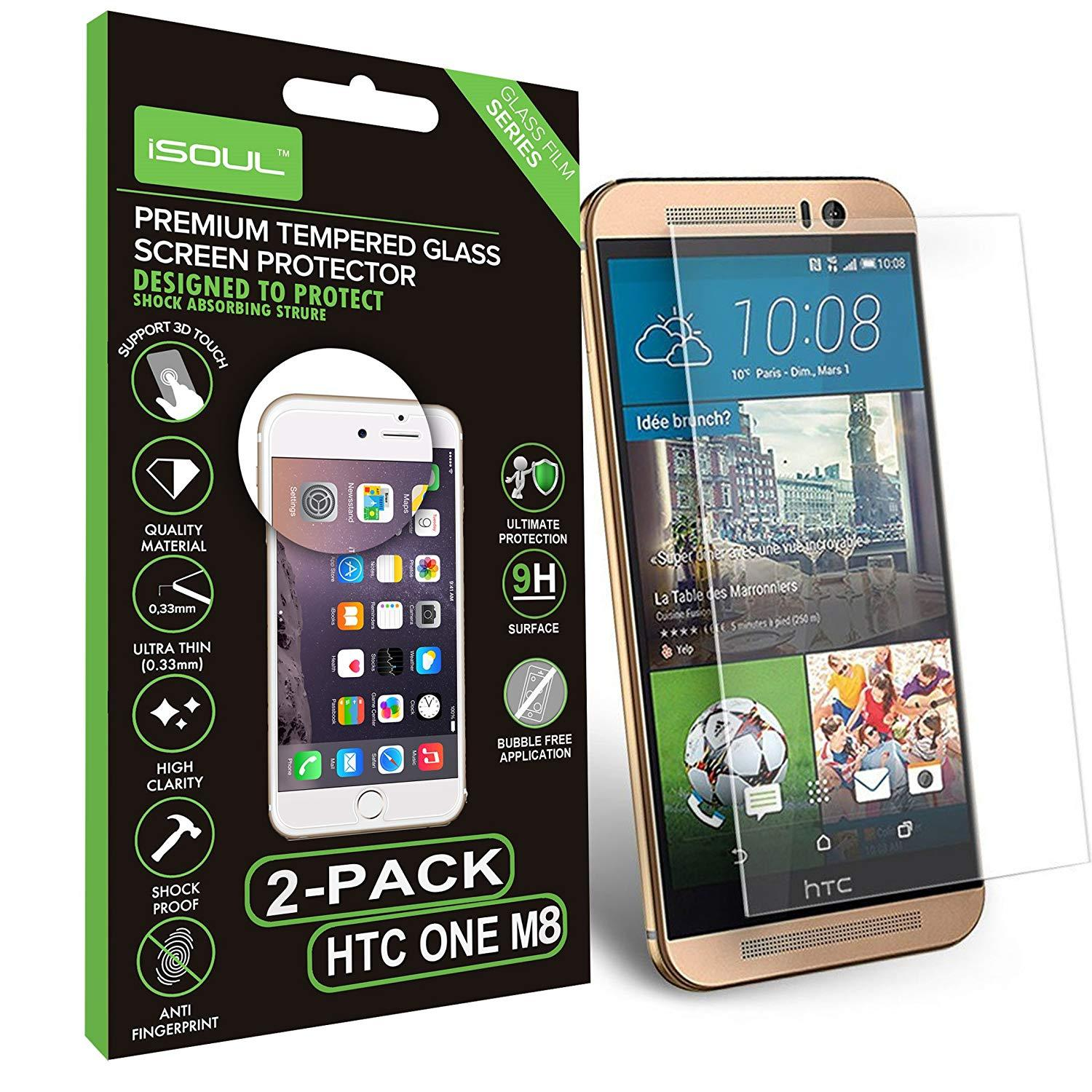 2x iSOUL Premium HTC One M8 Screen Protector Tempered Glass Ultra Slim by  iSOUL