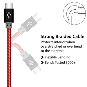 Light Weight Red Braided USB Type C Charger Cable for Android Phones - iSOUL