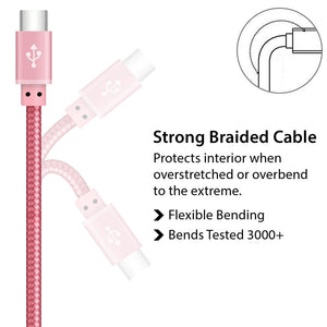 Fast Charger Braided Rose Gold USB type C Cable for Syncing and Charging - iSOUL