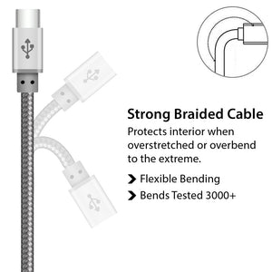Perfect designed Silver Braided USB Type C Cable for Charger and Data Sync - iSOUL