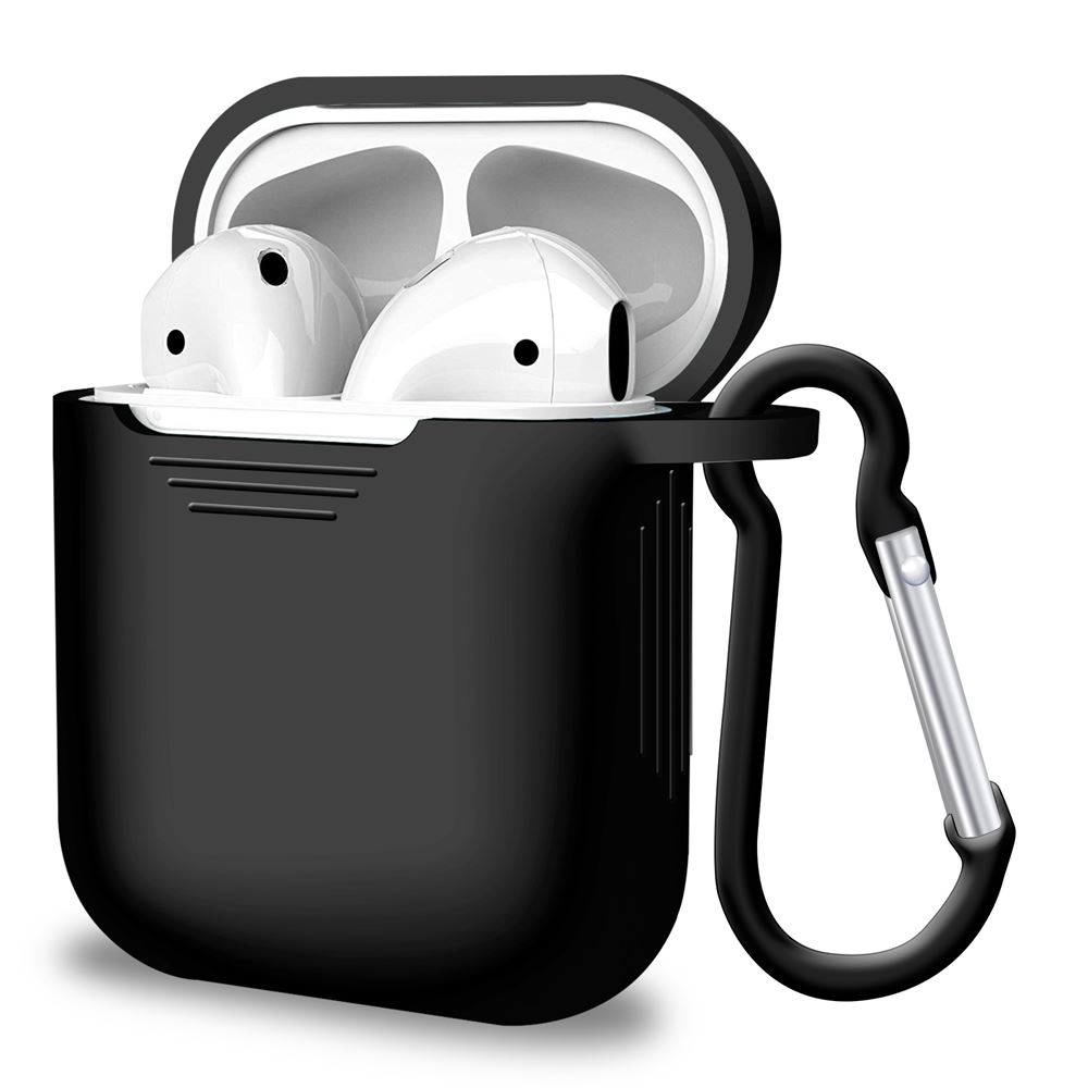 Black Silicone Airpods Case for Airpods 1st and 2nd Gen, Headphone & Headset Accessories by iSOUL