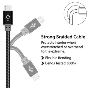 Braided Premium Quality Micro USB Cable Black for Data Sync and Charging - iSOUL