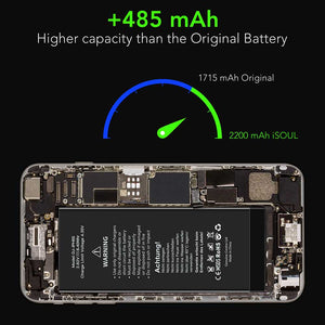 Fast Charging 2200 mAh Replacement Battery Compatible for iPhone 6s - iSOUL