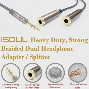 iSoul Braided 3.5mm Headphone Earphone Y Aux Splitter Adapter Jack Male to Dual Female Brown - iSOUL
