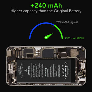 2200 mAh Li-Polymer Replacement Battery Compatible for iPhone 7 - iSOUL