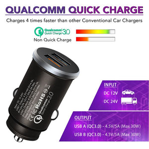 Fast Charging Dual Port USB Car Charger with QUALCOMM 3.0 Chip - iSOUL