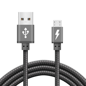 iSOUL Micro USB Cable Braided Grey for Charging and Data Sync - iSOUL