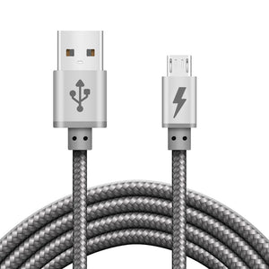 iSOUL Silver Braided Micro USB Cable for Charger and Data Sync - iSOUL