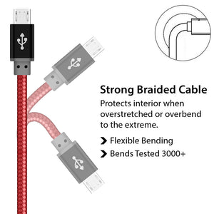 Red Tough Nylon Braided Micro USB charger Cable for Android Phones - iSOUL