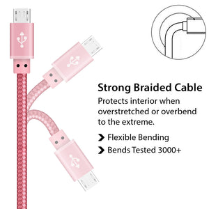 Multi Strand Copper Braided Rose Gold Micro USB Cable for Syncing Charging - iSOUL