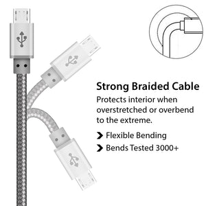 Silver Braided Micro USB Cable for Charger and Data Sync - iSOUL