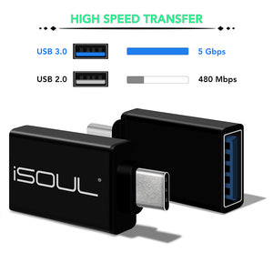 Aluminium Type C USB 3.0 Adapter Male to Female - iSOUL