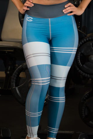 SC Blue Plaid - Socrave Athleisure Wear Women's Legging