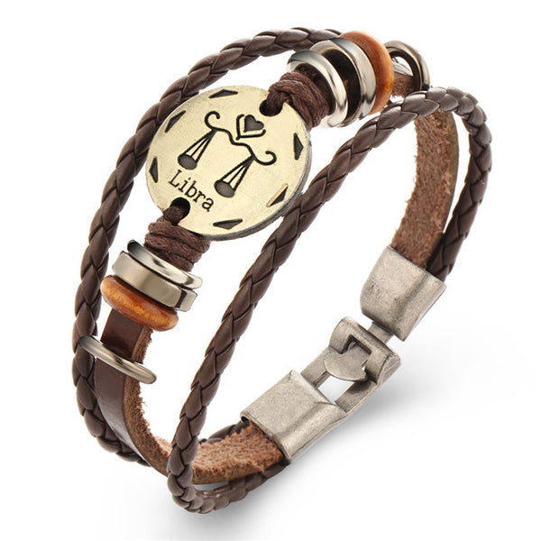 12 Constellations Leather Bracelet - CrumelsWorld