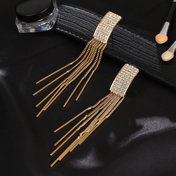 Long Crystal Tassel Dangle Earrings - CrumelsWorld