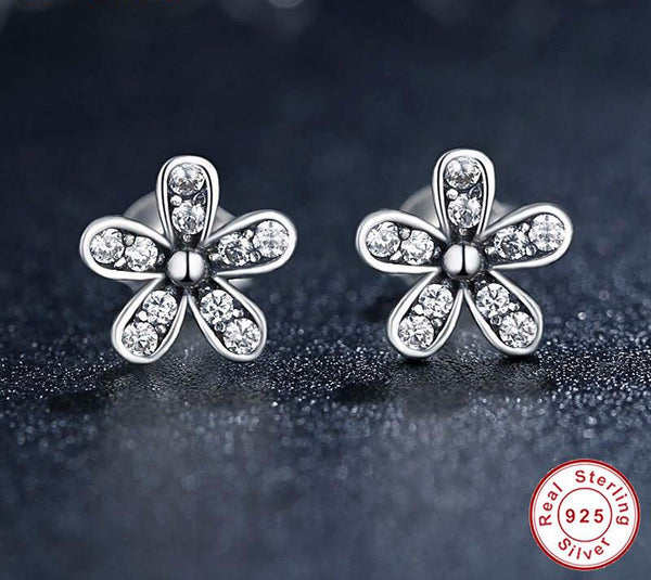 Sterling Silver Dazzling Daisy Stud Earrings - CrumelsWorld