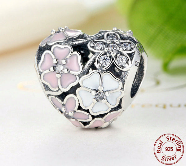 Sterling Silver Cherry Blossom Charm - CrumelsWorld