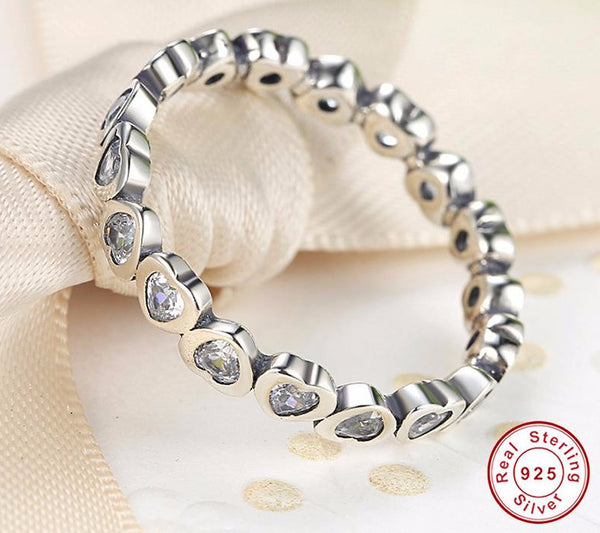 Sterling Silver Sparkling Heart Stacking Ring - CrumelsWorld