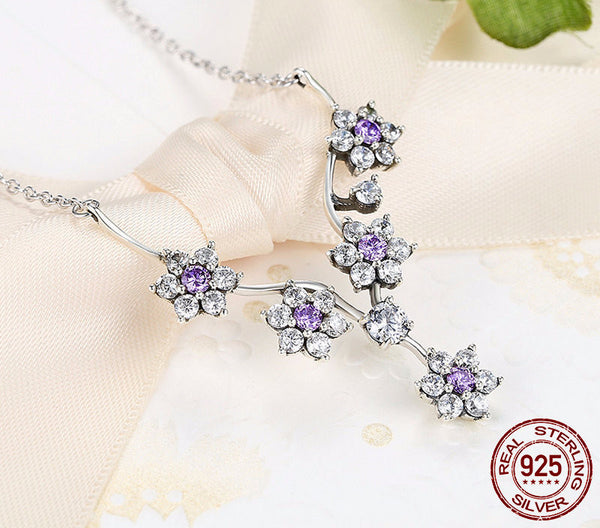 Sterling Silver Sparkling Branch with Flowers Set