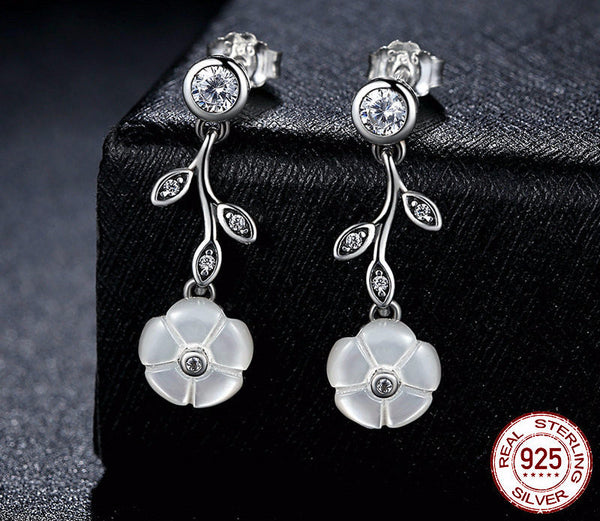 Sterling Silver Luminous Florals Drop Earrings - CrumelsWorld