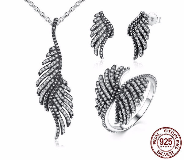 Sterling Silver Majestic Feathers Set - CrumelsWorld