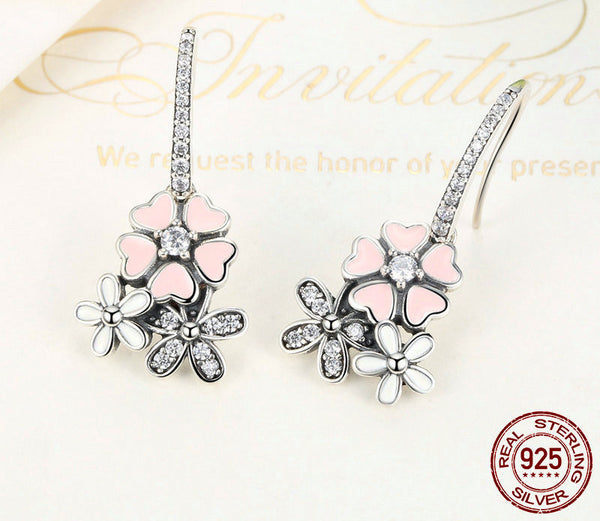 Sterling Silver Cherry Blossom Drop Earrings - CrumelsWorld