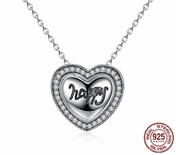 Sterling Silver Happy Heart Pendant & Necklace - CrumelsWorld