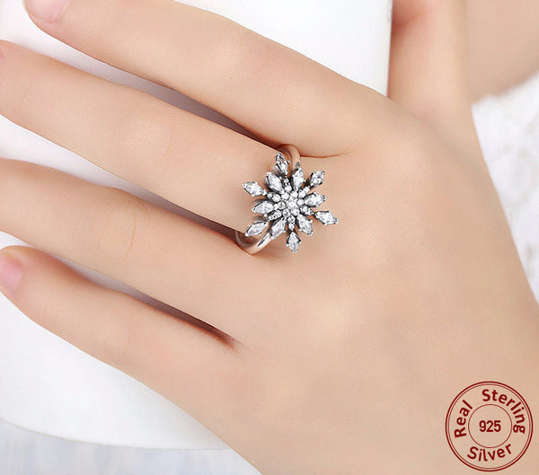 Sterling Silver Sparkling Snowflake Ring - CrumelsWorld
