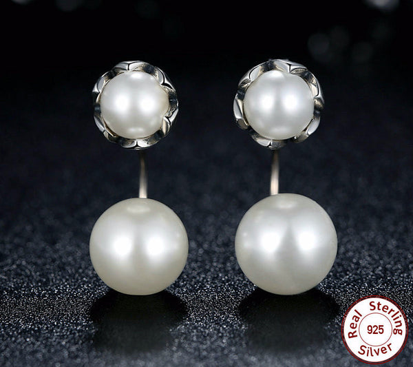 Sterling Silver Pearls Drop Earrings - CrumelsWorld