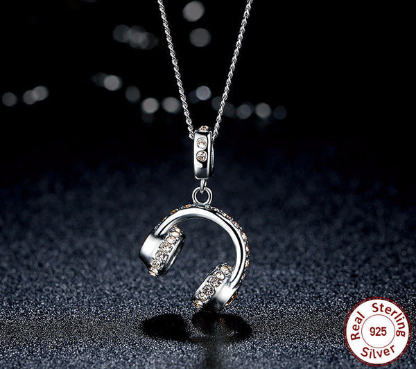 Sterling Silver Headset Pendant & Necklace - CrumelsWorld