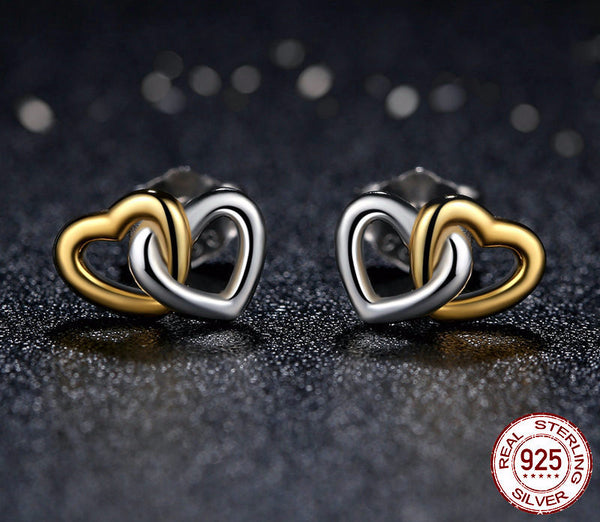 Sterling Silver Entwined Hearts Stud Earrings - CrumelsWorld