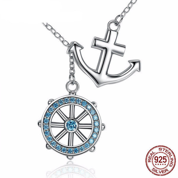 Sterling Silver Anchor & Rudder Pendant & Necklace - CrumelsWorld