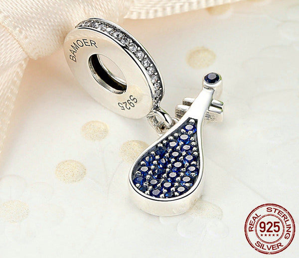 Sterling Silver Blue Lute Charm - CrumelsWorld