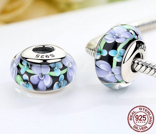 Sterling Silver Colorful Flowers Murano Glass Beads - CrumelsWorld