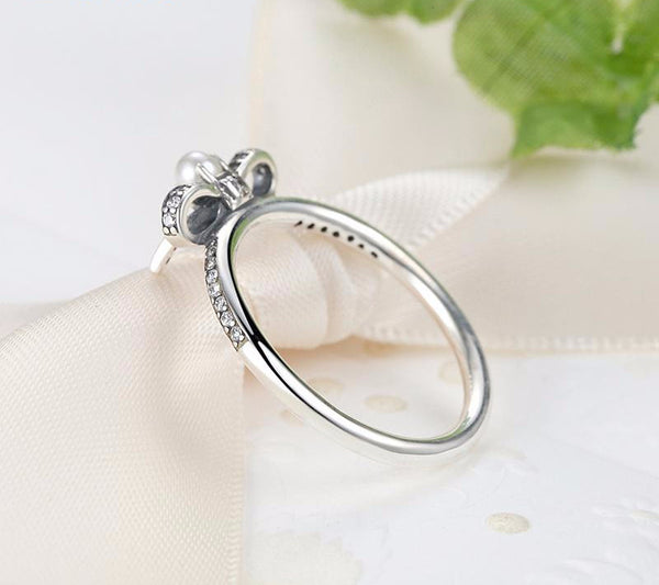 Sterling Silver BowKnot Ring with White Pearl - CrumelsWorld