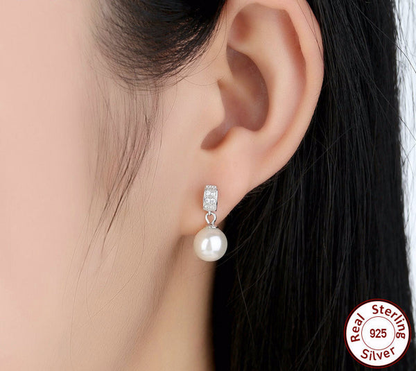 Sterling Silver Drop Earrings with Pearls - CrumelsWorld