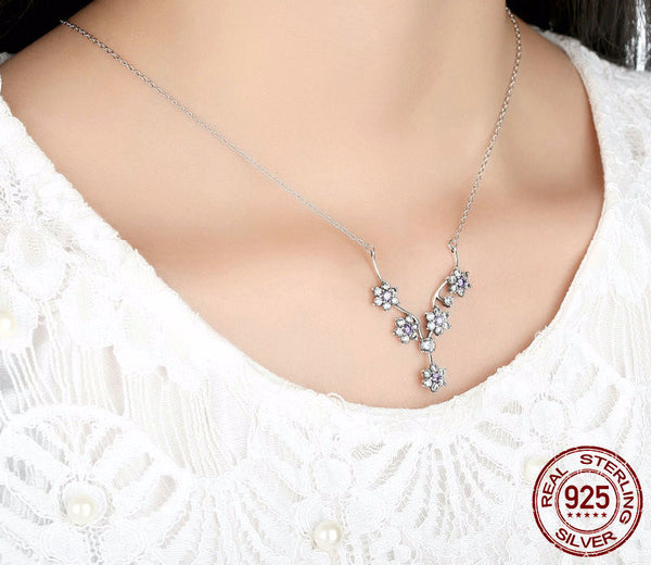 Sterling Silver Sparkling Branch with Flowers Pendant & Necklace - CrumelsWorld