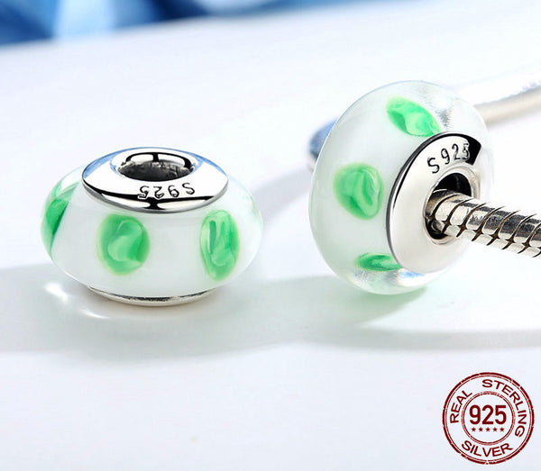 Sterling Silver Green Murano Glass Beads - CrumelsWorld