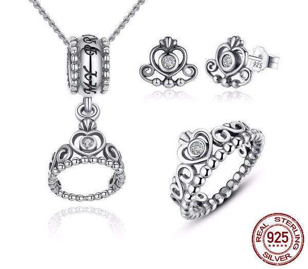 Sterling Silver Princess Tiara Set
