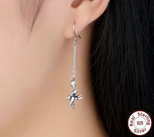 Sterling Silver Swallow Bird Drop Earrings - CrumelsWorld