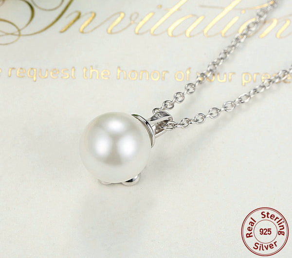 Sterling Silver Mystic Flower Pendant & Necklace with White Pearl - CrumelsWorld