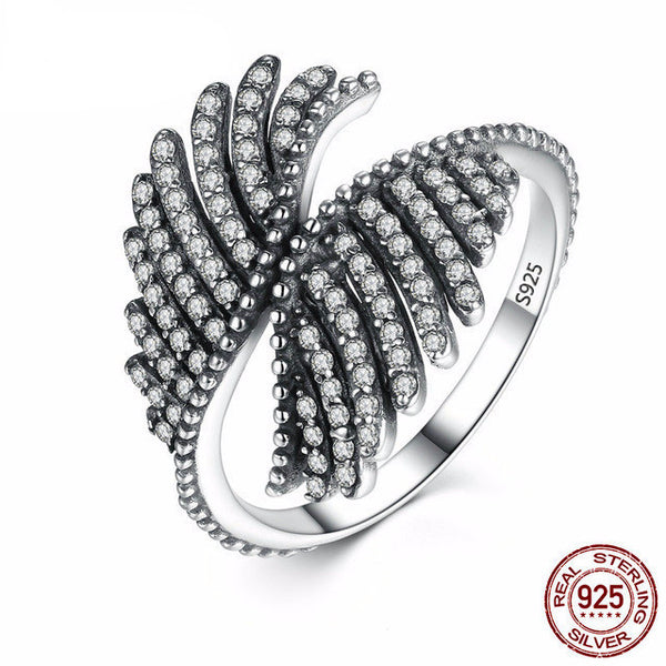 Sterling Silver Majestic Feathers Ring - CrumelsWorld
