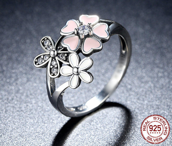 Sterling Silver Cherry Blossom Ring - CrumelsWorld