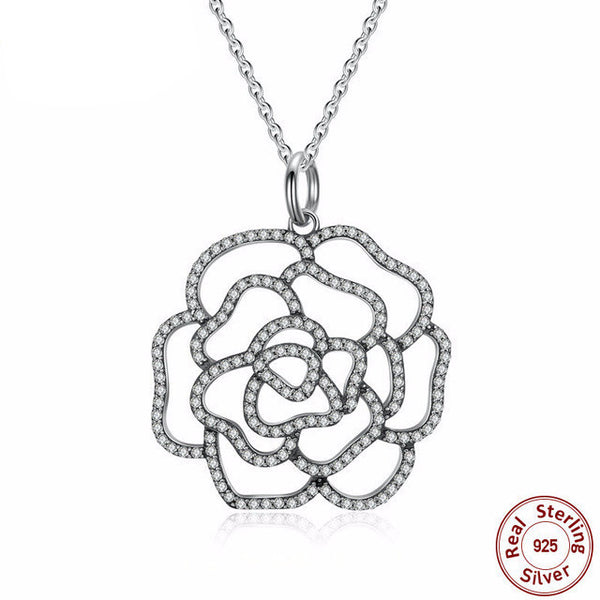 Sterling Silver Shimmering Rose Pendant & Necklace - CrumelsWorld