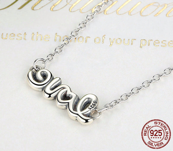Sterling Silver Love Signature Pendant & Necklace - CrumelsWorld