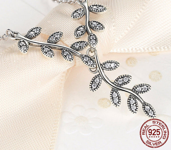 Sterling Silver Sparkling Leaves Set