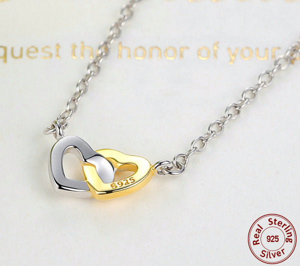 Sterling Silver Entwined Hearts Pendant & Necklace - CrumelsWorld